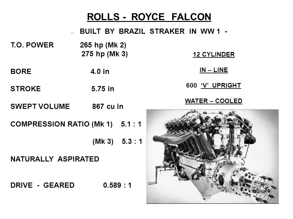 ROLLS - ROYCE FALCON -- BUILT BY BRAZIL STRAKER IN WW 1 - 12 CYLINDER IN – LINE 600'V' UPRIGHT WATER – COOLED T.O.