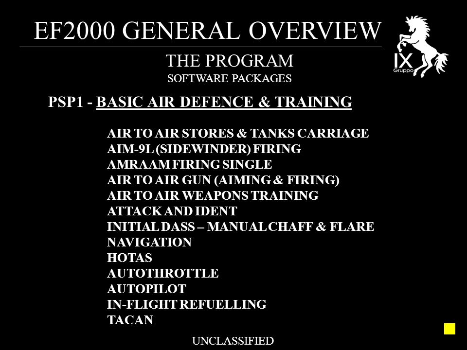 EF2000 GENERAL OVERVIEW UNCLASSIFIED THE PROGRAM SOFTWARE PACKAGES PSP1 - BASIC AIR DEFENCE & TRAINING AIR TO AIR STORES & TANKS CARRIAGE AIM-9L (SIDE
