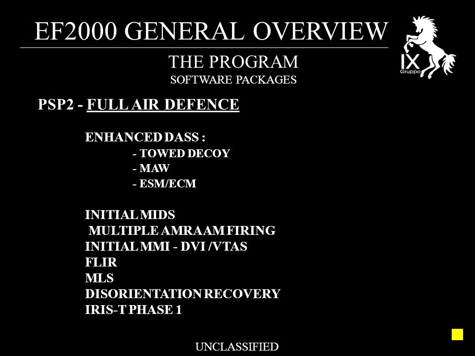 EF2000 GENERAL OVERVIEW UNCLASSIFIED THE PROGRAM SOFTWARE PACKAGES PSP2 - FULL AIR DEFENCE ENHANCED DASS : - TOWED DECOY - MAW - ESM/ECM INITIAL MIDS