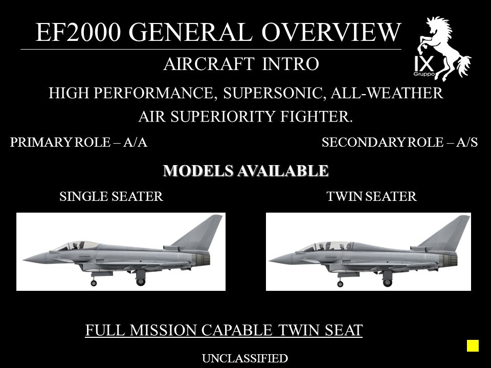 EF2000 GENERAL OVERVIEW UNCLASSIFIED AIRCRAFT INTRO HIGH PERFORMANCE, SUPERSONIC, ALL-WEATHER AIR SUPERIORITY FIGHTER. PRIMARY ROLE – A/A SECONDARY RO