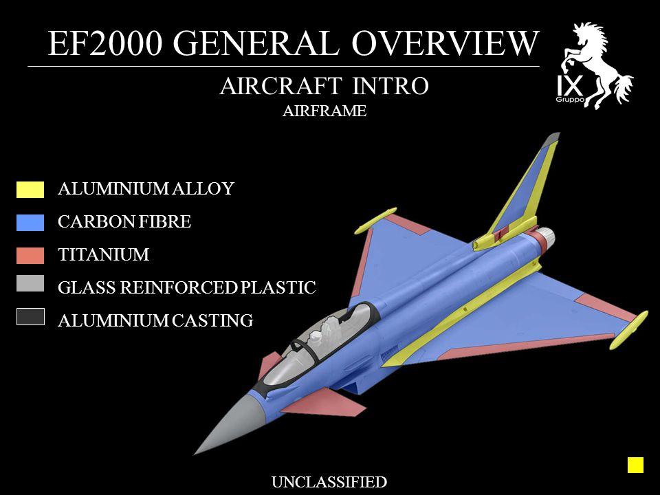 EF2000 GENERAL OVERVIEW UNCLASSIFIED AIRCRAFT INTRO AIRFRAME ALUMINIUM ALLOY CARBON FIBRE TITANIUM GLASS REINFORCED PLASTIC ALUMINIUM CASTING