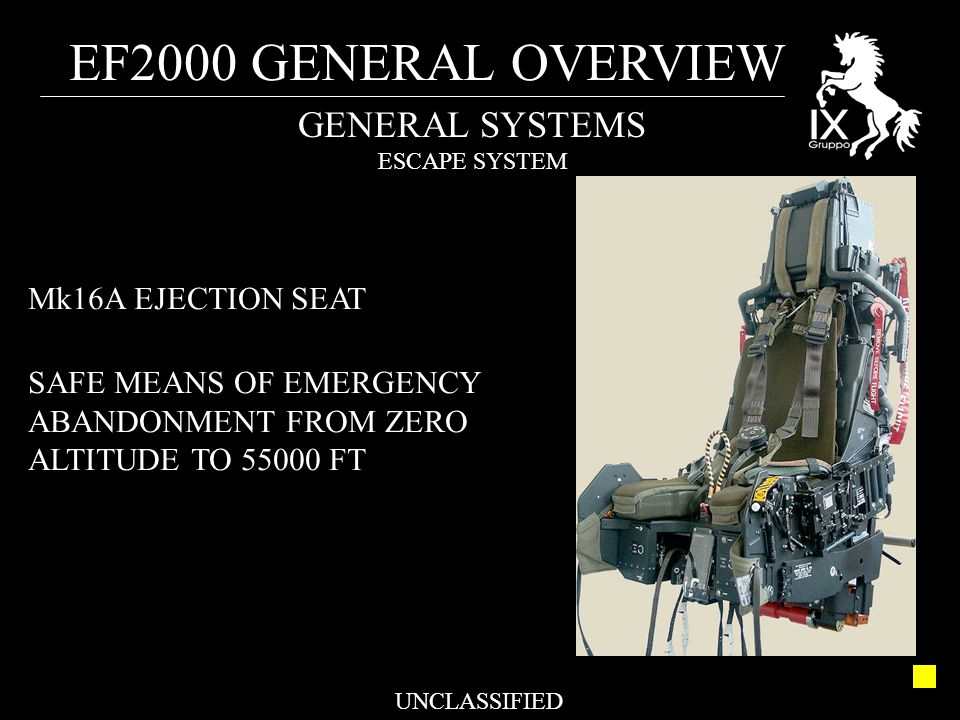 EF2000 GENERAL OVERVIEW UNCLASSIFIED GENERAL SYSTEMS ESCAPE SYSTEM Mk16A EJECTION SEAT SAFE MEANS OF EMERGENCY ABANDONMENT FROM ZERO ALTITUDE TO 55000 FT