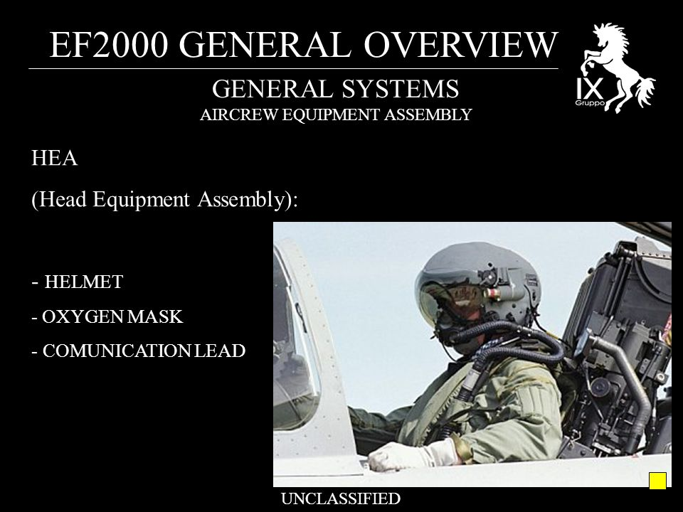 EF2000 GENERAL OVERVIEW UNCLASSIFIED GENERAL SYSTEMS AIRCREW EQUIPMENT ASSEMBLY HEA (Head Equipment Assembly): - HELMET - OXYGEN MASK - COMUNICATION LEAD