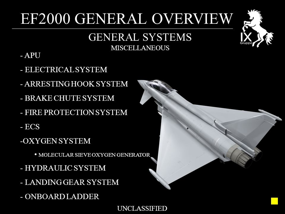 EF2000 GENERAL OVERVIEW UNCLASSIFIED GENERAL SYSTEMS MISCELLANEOUS - APU - ELECTRICAL SYSTEM - ARRESTING HOOK SYSTEM - BRAKE CHUTE SYSTEM - FIRE PROTE