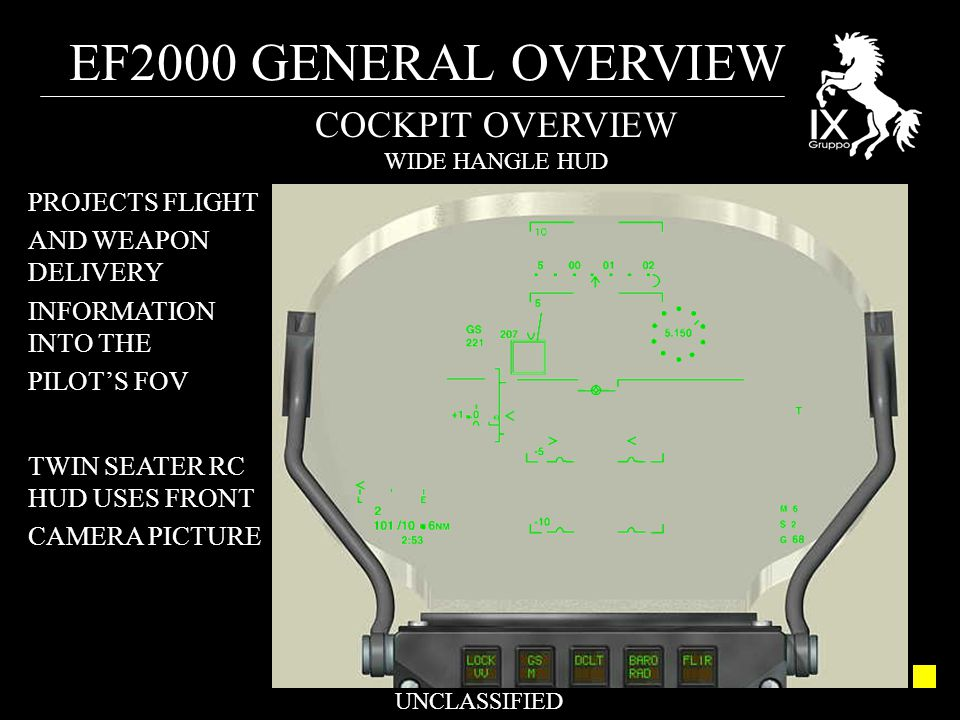 EF2000 GENERAL OVERVIEW UNCLASSIFIED COCKPIT OVERVIEW WIDE HANGLE HUD PROJECTS FLIGHT AND WEAPON DELIVERY INFORMATION INTO THE PILOT'S FOV TWIN SEATER