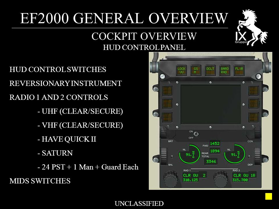 EF2000 GENERAL OVERVIEW UNCLASSIFIED COCKPIT OVERVIEW HUD CONTROL PANEL HUD CONTROL SWITCHES REVERSIONARY INSTRUMENT RADIO 1 AND 2 CONTROLS - UHF (CLE