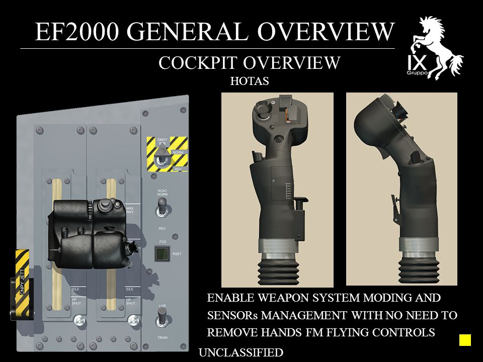 EF2000 GENERAL OVERVIEW UNCLASSIFIED COCKPIT OVERVIEW HOTAS ENABLE WEAPON SYSTEM MODING AND SENSORs MANAGEMENT WITH NO NEED TO REMOVE HANDS FM FLYING CONTROLS