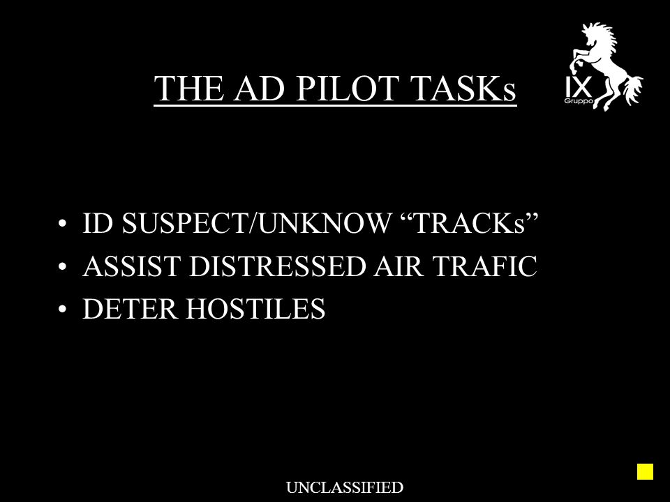 "ID SUSPECT/UNKNOW ""TRACKs"" ASSIST DISTRESSED AIR TRAFIC DETER HOSTILES THE AD PILOT TASKs UNCLASSIFIED"