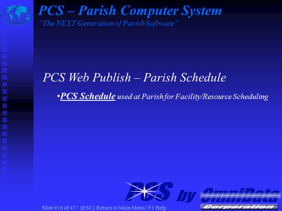 Slide #15 of 47 / {ESC} Return to Main Menu / F1 Help Document prepared at Parish using MS Word PCS – Parish Computer System The NEXT Generation of Parish Software