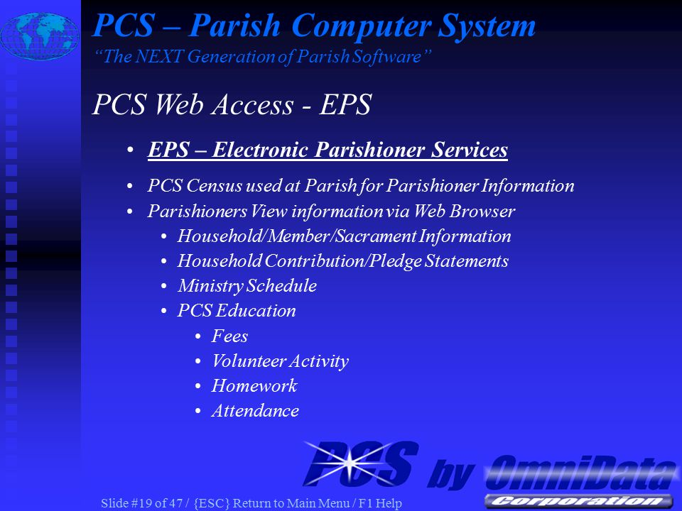 Slide #18 of 47 / {ESC} Return to Main Menu / F1 Help PCS Schedule as Viewed on Parish Web PCS – Parish Computer System The NEXT Generation of Parish Software