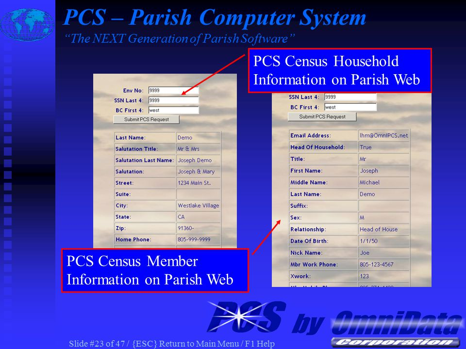 Slide #22 of 47 / {ESC} Return to Main Menu / F1 Help PCS Census Household/Member Information PCS – Parish Computer System The NEXT Generation of Parish Software