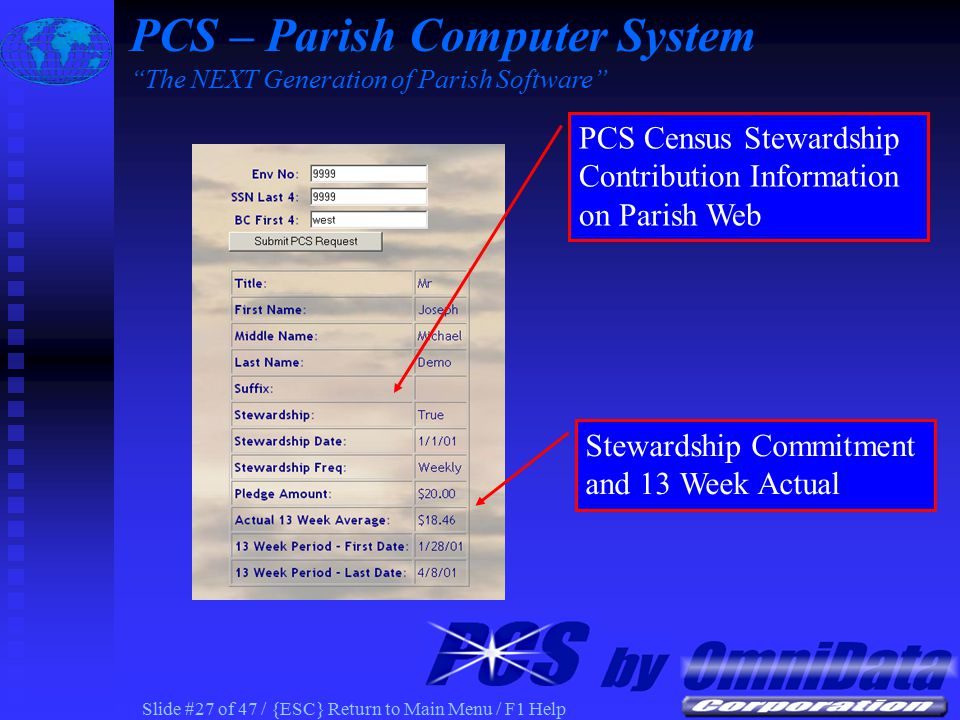 Slide #26 of 47 / {ESC} Return to Main Menu / F1 Help PCS Census Contribution Information PCS – Parish Computer System The NEXT Generation of Parish Software