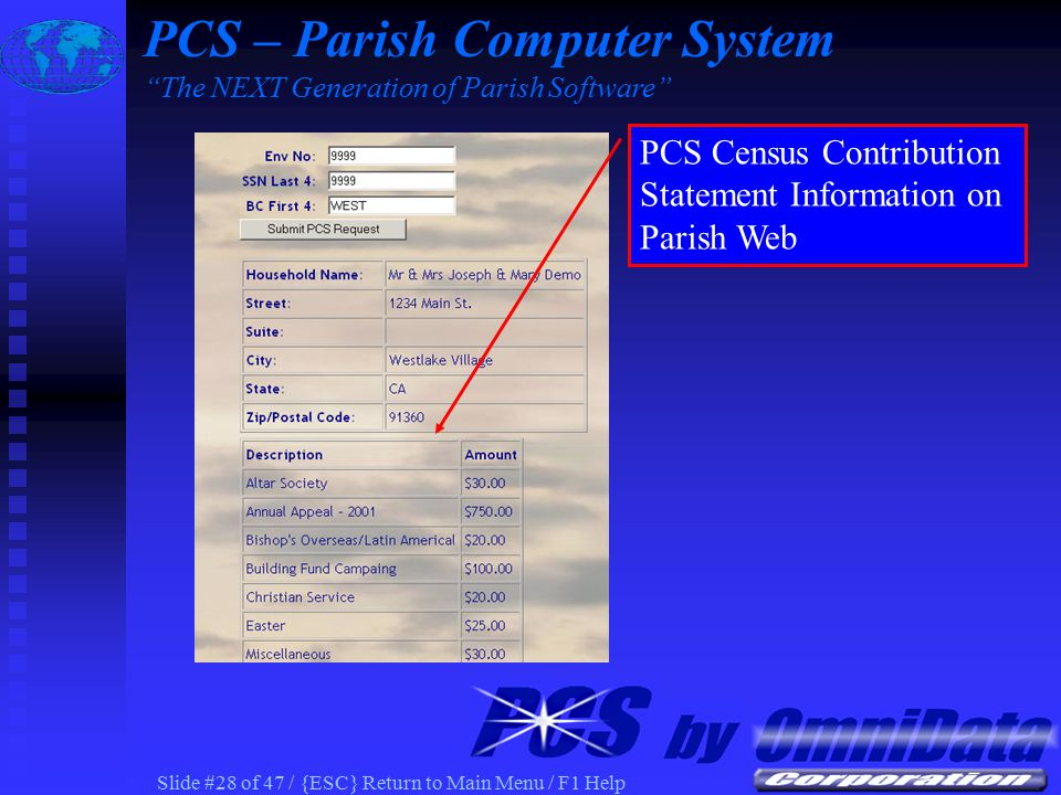 Slide #27 of 47 / {ESC} Return to Main Menu / F1 Help PCS Census Stewardship Contribution Information on Parish Web Stewardship Commitment and 13 Week Actual PCS – Parish Computer System The NEXT Generation of Parish Software