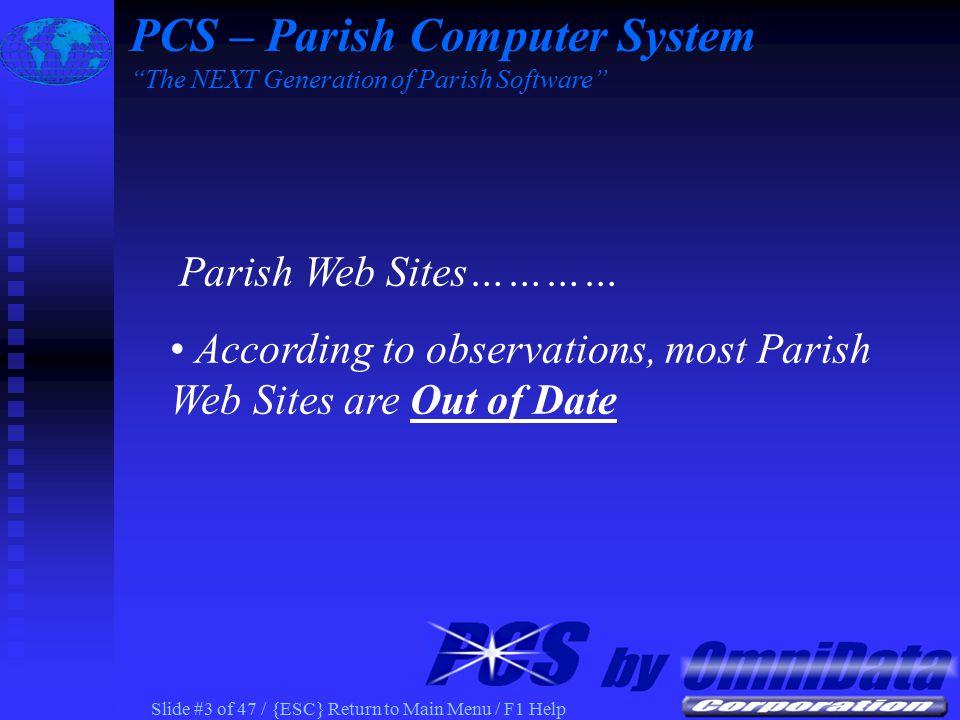 Slide #33 of 47 / {ESC} Return to Main Menu / F1 Help PCS Census Event Registration Form on Parish Web PCS – Parish Computer System The NEXT Generation of Parish Software