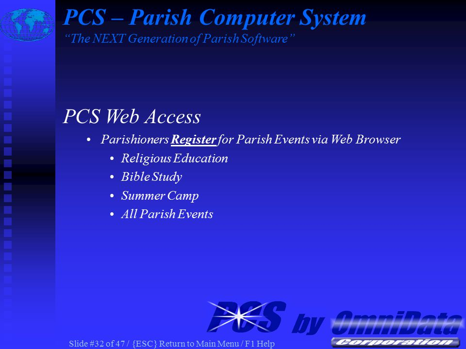 Slide #31 of 47 / {ESC} Return to Main Menu / F1 Help PCS Census 'Update' Information Received at Parish PCS – Parish Computer System The NEXT Generation of Parish Software