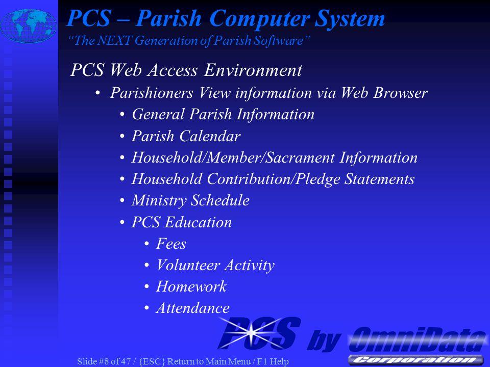 Slide #28 of 47 / {ESC} Return to Main Menu / F1 Help PCS Census Contribution Statement Information on Parish Web PCS – Parish Computer System The NEXT Generation of Parish Software