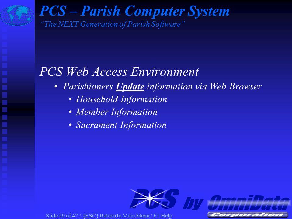 Slide #39 of 47 / {ESC} Return to Main Menu / F1 Help PCS – Parish Computer System The NEXT Generation of Parish Software