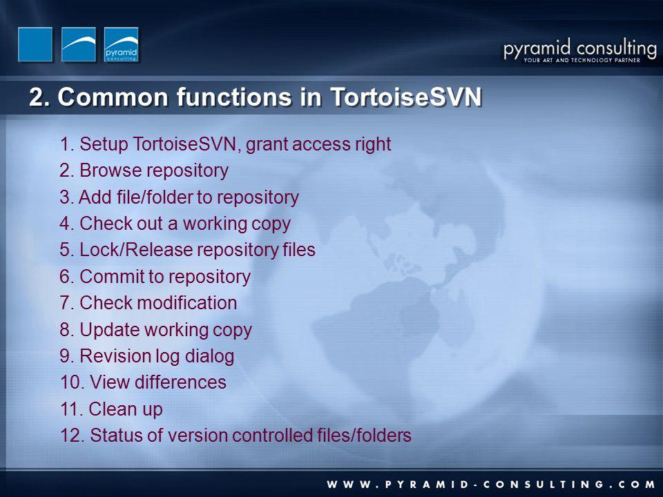 2. Common functions in TortoiseSVN 1. Setup TortoiseSVN, grant access right 2.
