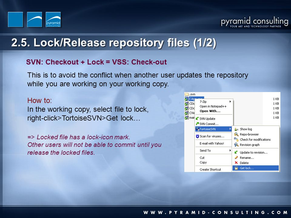 2.5. Lock/Release repository files (1/2) This is to avoid the conflict when another user updates the repository while you are working on your working
