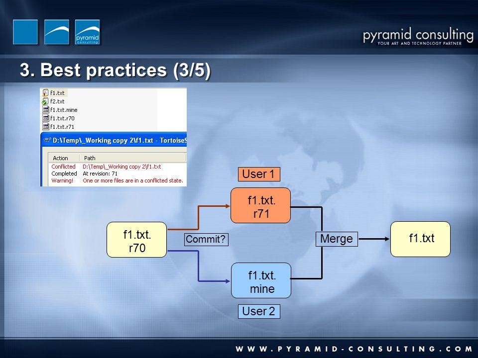 3. Best practices (3/5) f1.txt. r70 f1.txt. r71 f1.txt. mine f1.txt Merge Commit User 1 User 2