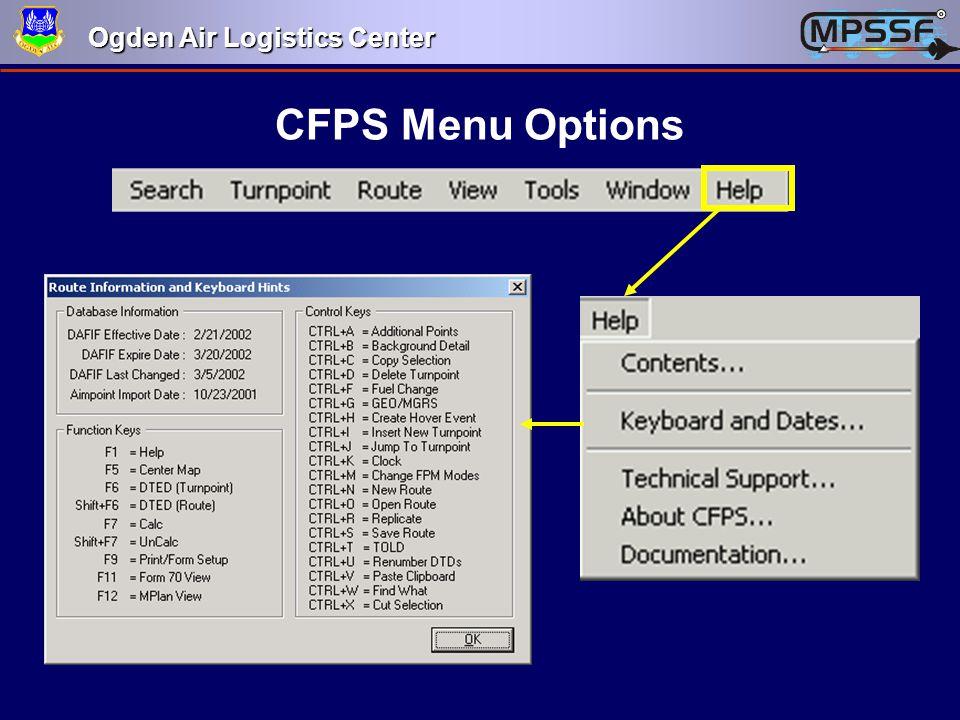 Ogden Air Logistics Center CFPS Menu Options