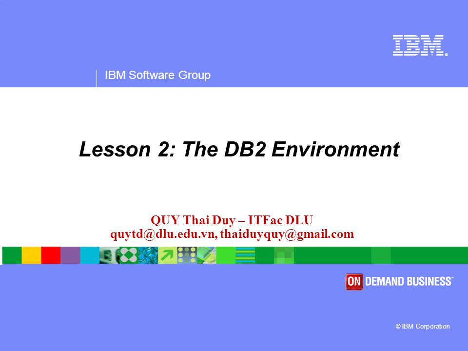IBM Software Group A Basic SQL Script  Suppose the following commands are saved in a file called script1.db2 CONNECT TO EXPRESS; CREATE TABLE user1.mytable (col1 INTEGER NOT NULL, col2 VARCHAR(40), col3 DECIMAL(9,2)); SELECT * FROM user1.mytable FETCH FIRST 10 ROWS ONLY; COMMIT;