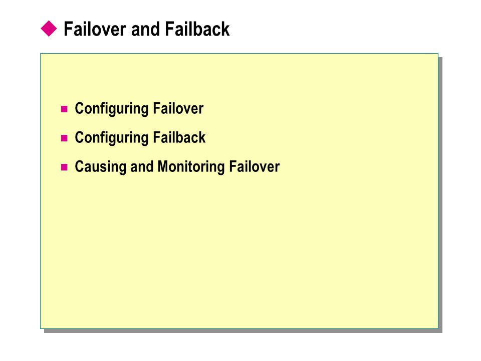  Failover and Failback Configuring Failover Configuring Failback Causing and Monitoring Failover