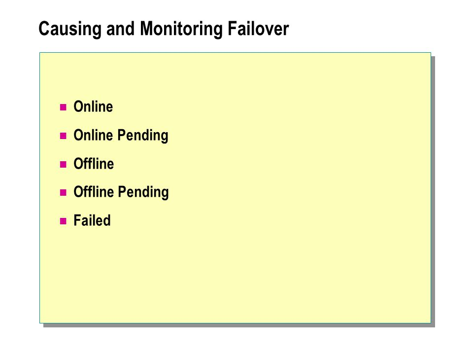 Causing and Monitoring Failover Online Online Pending Offline Offline Pending Failed