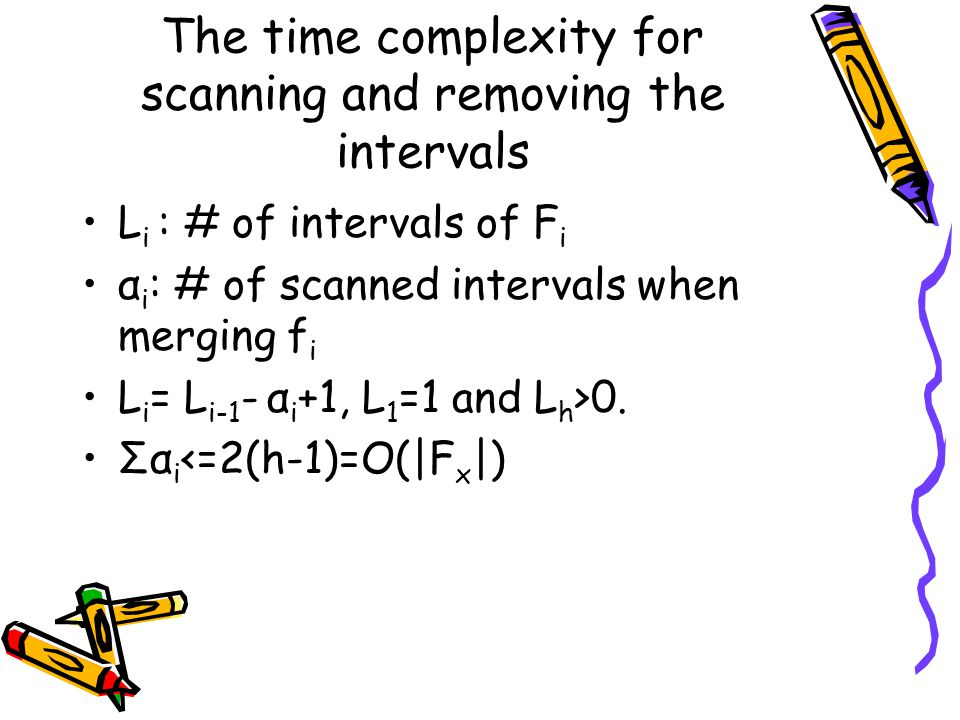 The time complexity for scanning and removing the intervals L i : # of intervals of F i α i : # of scanned intervals when merging f i L i = L i-1 - α