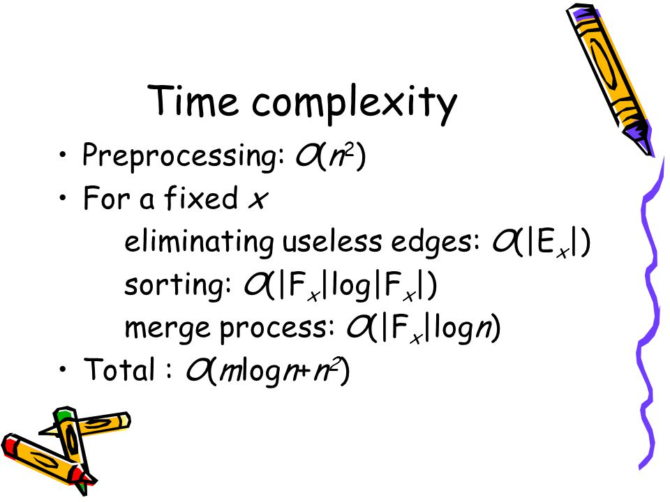 Time complexity Preprocessing: O(n 2 ) For a fixed x eliminating useless edges: O(|E x |) sorting: O(|F x |log|F x |) merge process: O(|F x |logn) Total : O(mlogn+n 2 )