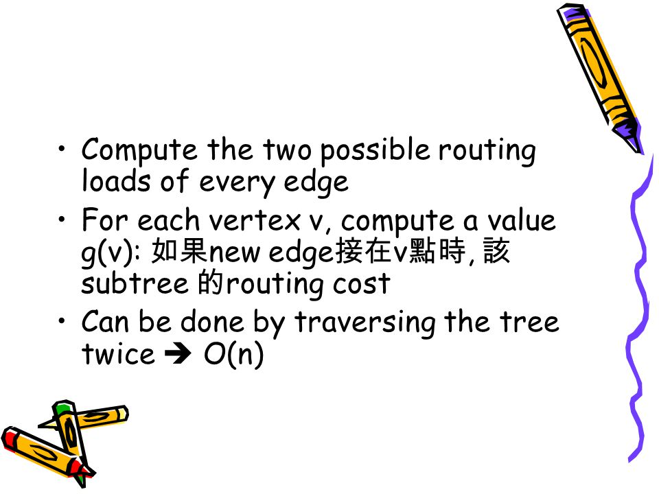 Compute the two possible routing loads of every edge For each vertex v, compute a value g(v): 如果 new edge 接在 v 點時, 該 subtree 的 routing cost Can be done by traversing the tree twice  O(n)