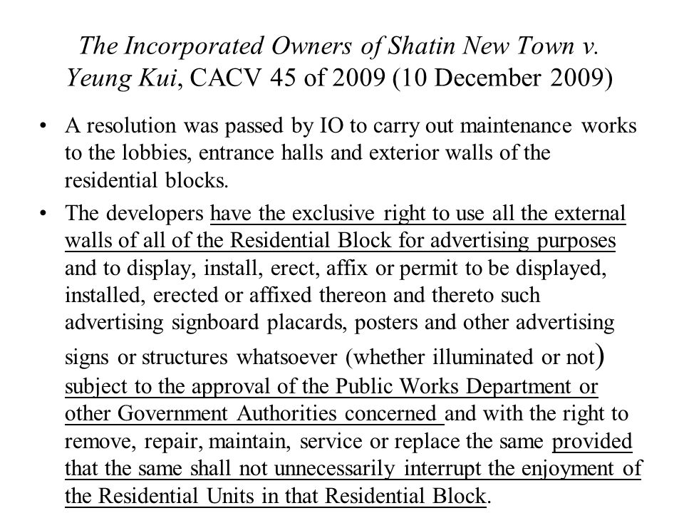 The Incorporated Owners of Shatin New Town v.