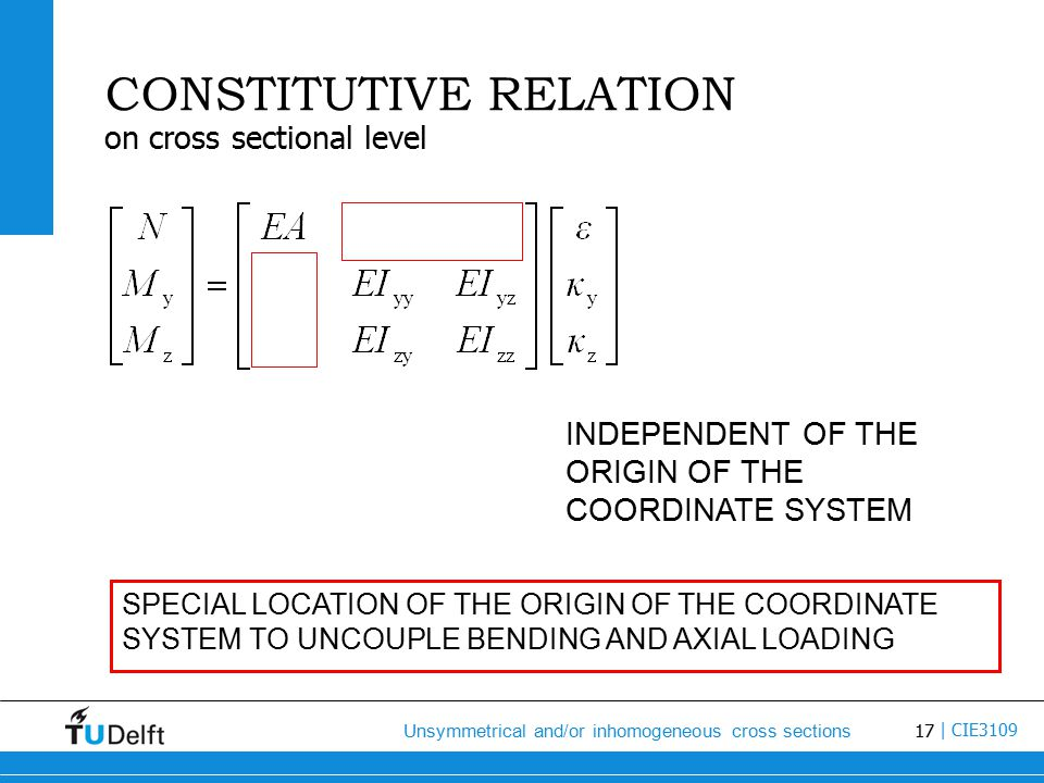 17 Unsymmetrical and/or inhomogeneous cross sections | CIE3109 CONSTITUTIVE RELATION on cross sectional level INDEPENDENT OF THE ORIGIN OF THE COORDINATE SYSTEM SPECIAL LOCATION OF THE ORIGIN OF THE COORDINATE SYSTEM TO UNCOUPLE BENDING AND AXIAL LOADING