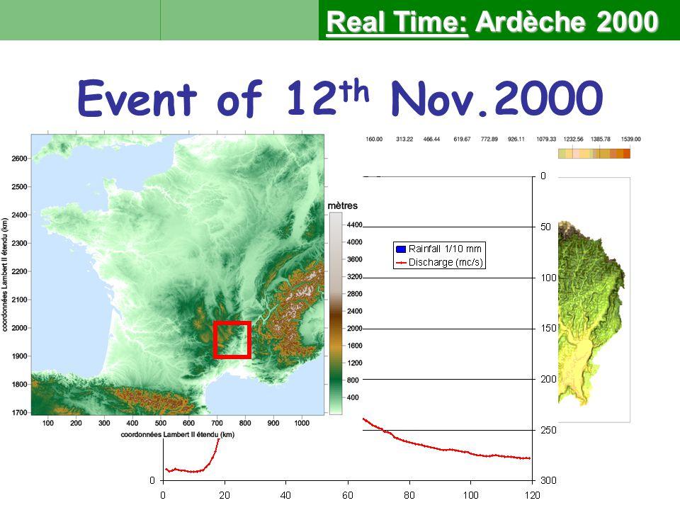 Ardèche at Vogüé 635 km² Event of 12 th Nov.2000 Real Time:Ardèche 2000 Real Time: Ardèche 2000