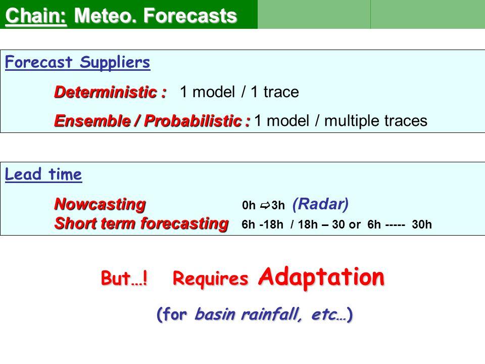 Selecting a Forecast e.g.ECMWF or ARPEGE… + Adaptation + Adaptation e.g.