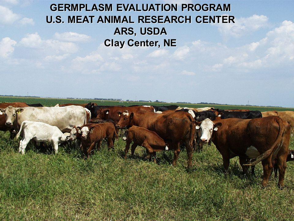 GERMPLASM EVALUATION PROGRAM U.S. MEAT ANIMAL RESEARCH CENTER ARS, USDA Clay Center, NE