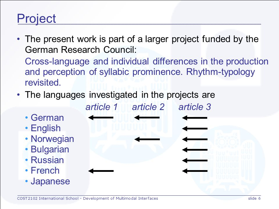 COST2102 International School - Development of Multimodal Interfacesslide 5 Research questions How do different languages exploit the universal means of signalling the varying prominence of words in an utterance.