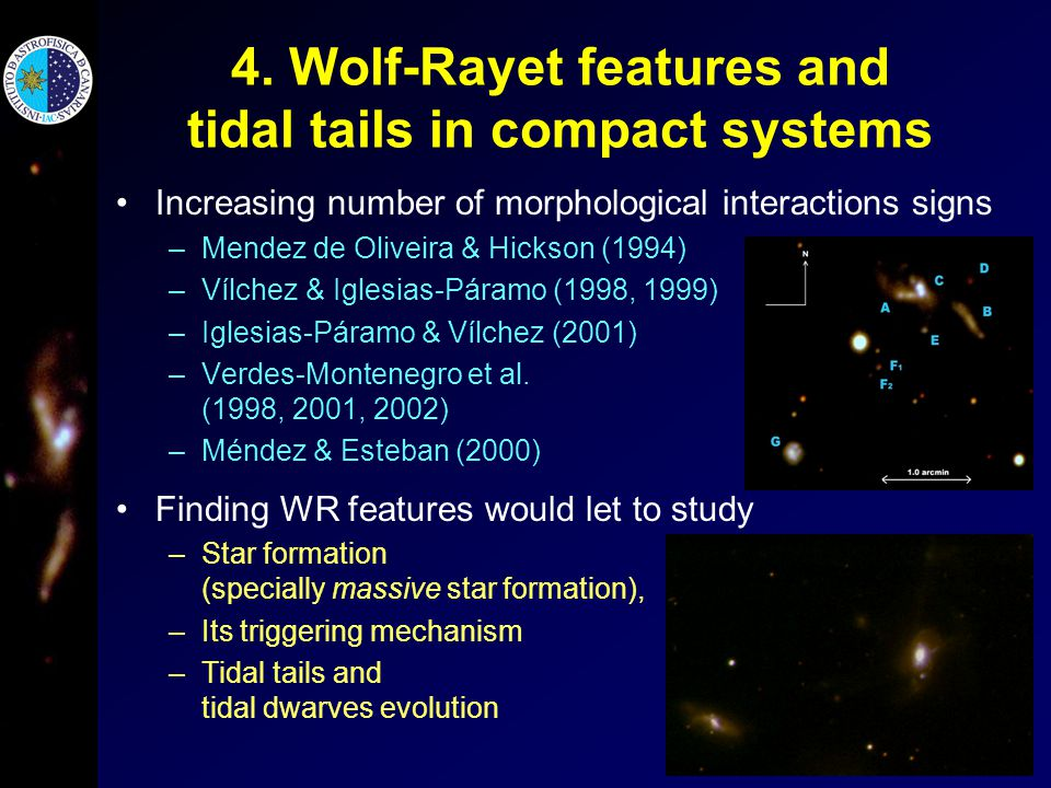 4. Wolf-Rayet features and tidal tails in compact systems Increasing number of morphological interactions signs –Mendez de Oliveira & Hickson (1994) –