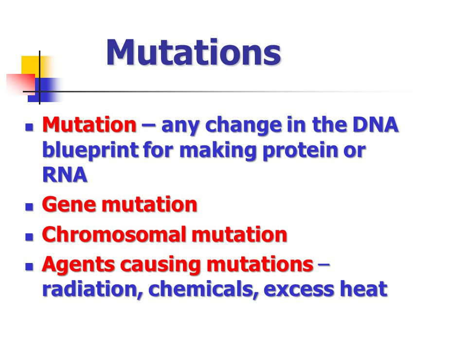 Mutations Mutation – any change in the DNA blueprint for making protein or RNA Mutation – any change in the DNA blueprint for making protein or RNA Gene mutation Gene mutation Chromosomal mutation Chromosomal mutation Agents causing mutations – radiation, chemicals, excess heat Agents causing mutations – radiation, chemicals, excess heat