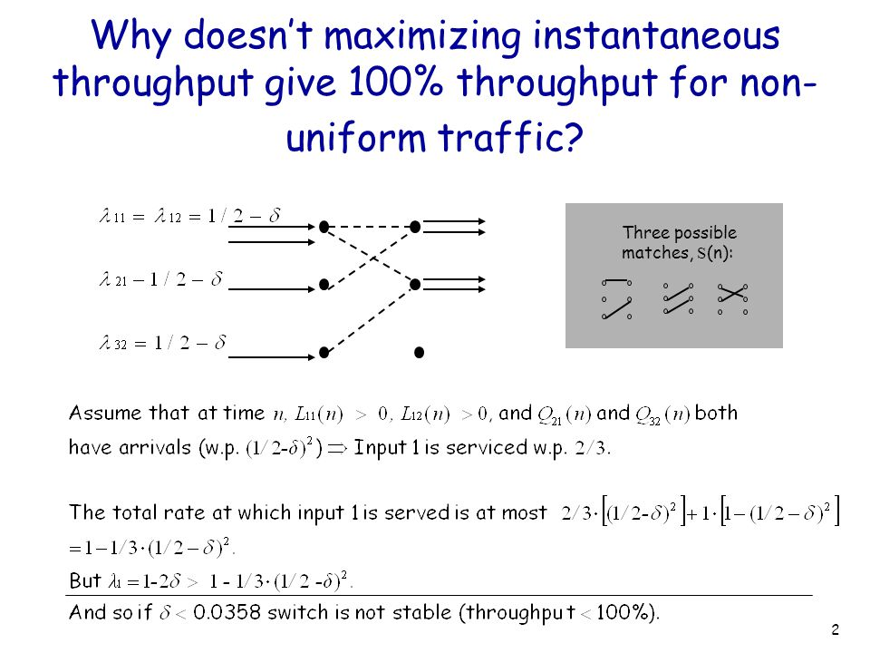 2 Why doesn't maximizing instantaneous throughput give 100% throughput for non- uniform traffic? Three possible matches, S (n):