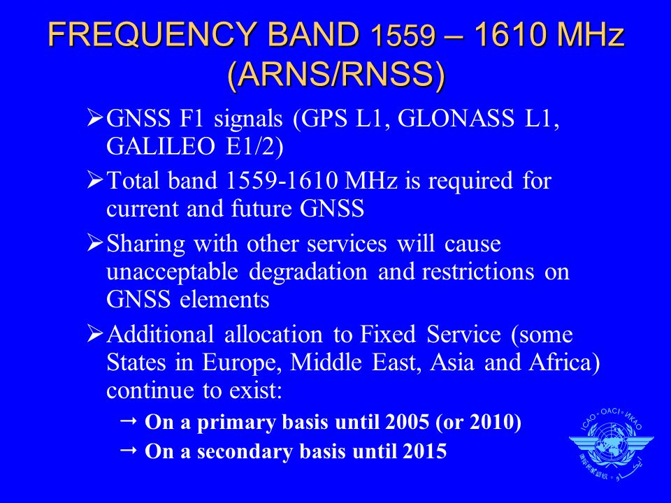 FREQUENCY BAND 1559 – 1610 MHz (ARNS/RNSS)  GNSS F1 signals (GPS L1, GLONASS L1, GALILEO E1/2)  Total band 1559-1610 MHz is required for current and future GNSS  Sharing with other services will cause unacceptable degradation and restrictions on GNSS elements  Additional allocation to Fixed Service (some States in Europe, Middle East, Asia and Africa) continue to exist:  On a primary basis until 2005 (or 2010)  On a secondary basis until 2015