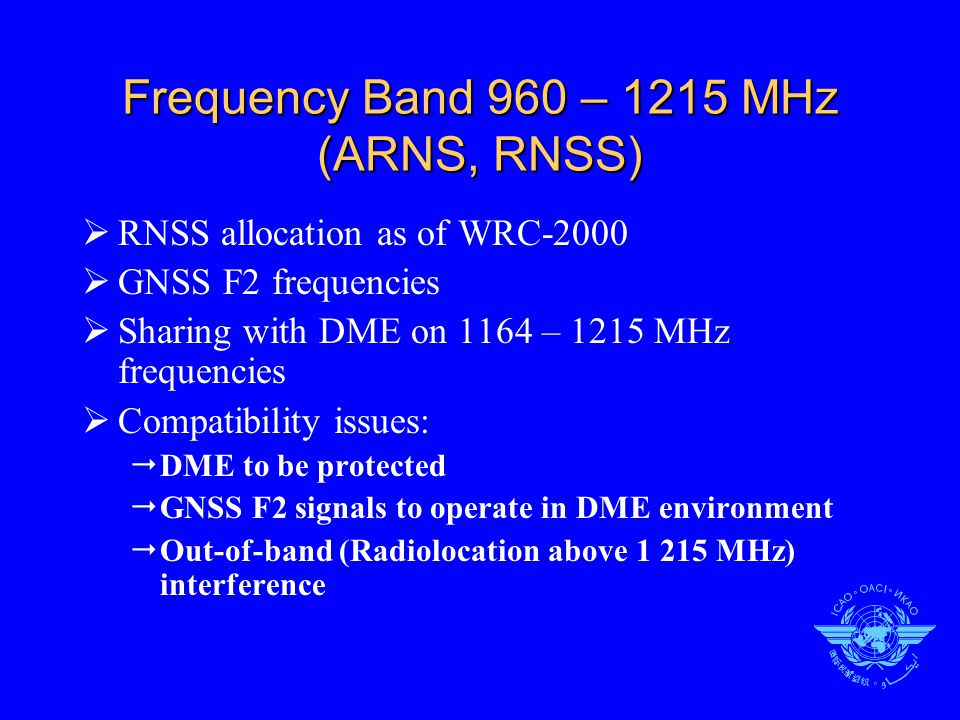 Frequency band 1215 – 1300 MHz (Radiolocation, RNSS)  No aeronautical allocation  GPS L2, GLONASS L2, GALILEO E6  Used by SBAS reference receivers  Compatibility issues  Radiolocation to be protected  No protection for RNSS on a global basis