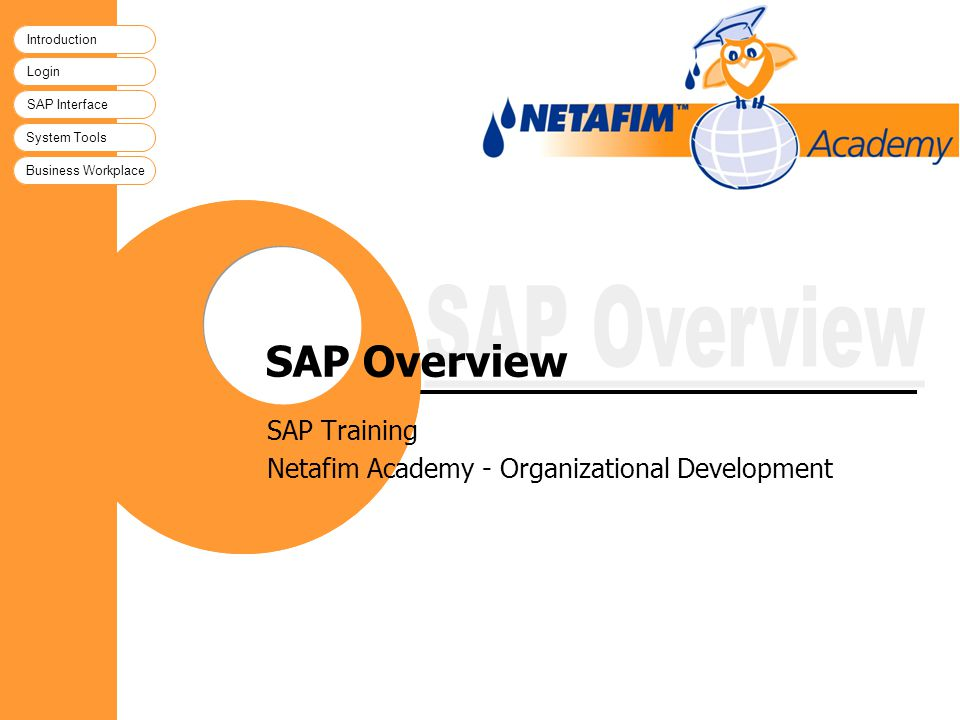Introduction Login SAP Interface System Tools Business Workplace SAP Overview SAP Training Netafim Academy - Organizational Development Introduction L