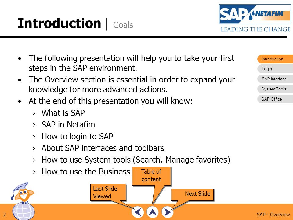 Introduction Login SAP Interface System Tools SAP Office SAP - Overview2 Introduction | Goals The following presentation will help you to take your fi