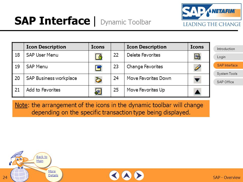 Introduction Login SAP Interface System Tools SAP Office SAP - Overview24 SAP Interface | Dynamic Toolbar Note: the arrangement of the icons in the dy