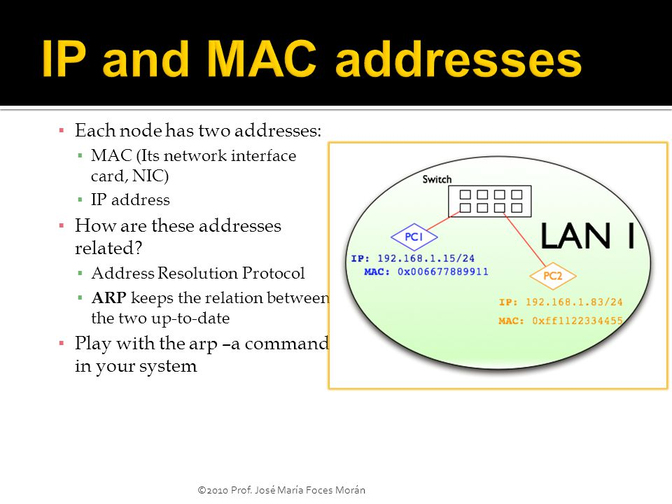 ▪ Each node has two addresses: ▪ MAC (Its network interface card, NIC) ▪ IP address ▪ How are these addresses related.