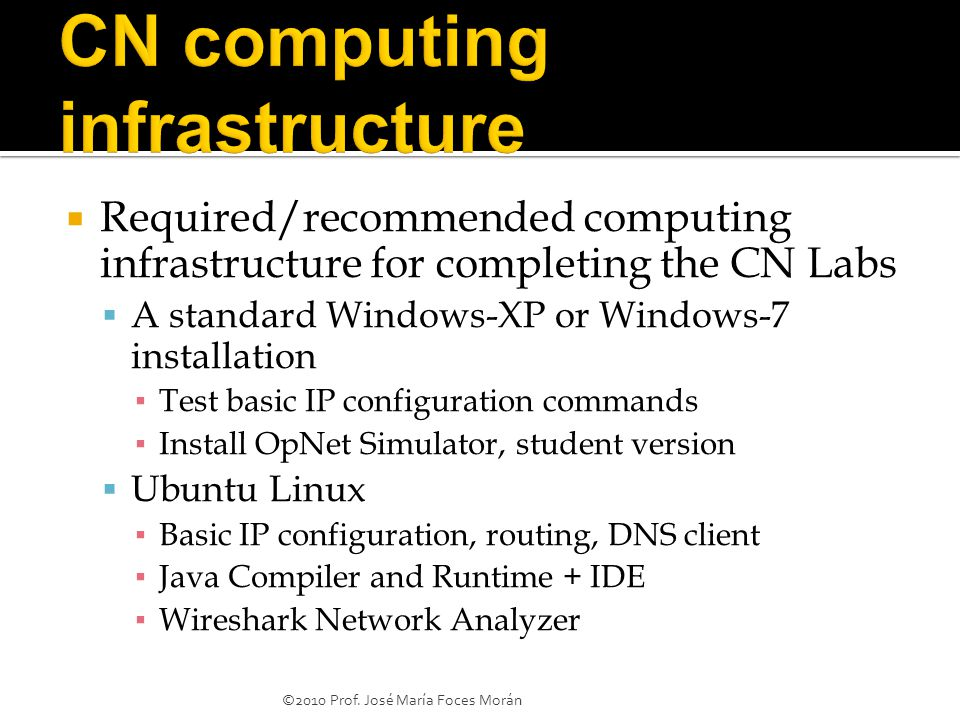  Required/recommended computing infrastructure for completing the CN Labs  A standard Windows-XP or Windows-7 installation ▪ Test basic IP configuration commands ▪ Install OpNet Simulator, student version  Ubuntu Linux ▪ Basic IP configuration, routing, DNS client ▪ Java Compiler and Runtime + IDE ▪ Wireshark Network Analyzer ©2010 Prof.