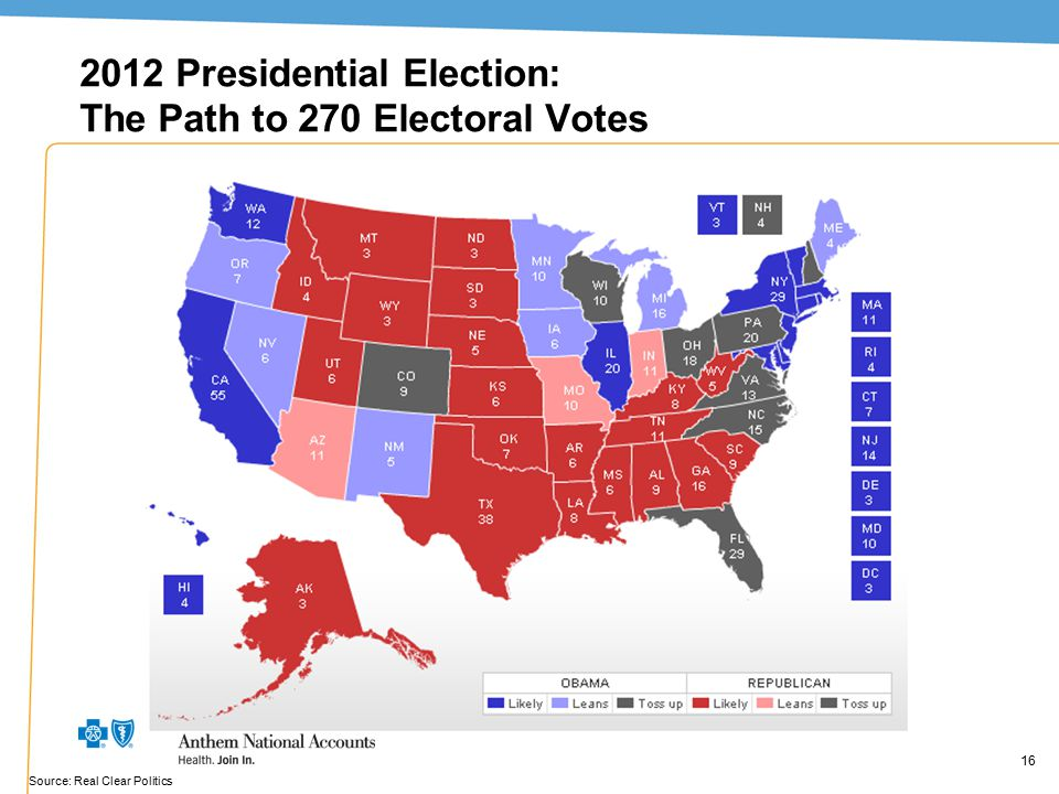16 2012 Presidential Election: The Path to 270 Electoral Votes 16 Source: Real Clear Politics