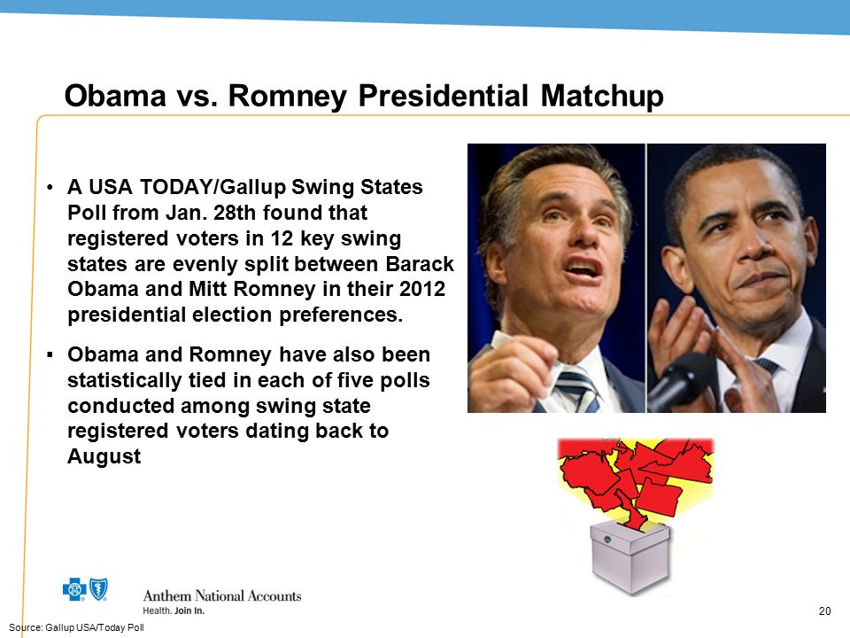 20 Obama vs. Romney Presidential Matchup A USA TODAY/Gallup Swing States Poll from Jan. 28th found that registered voters in 12 key swing states are e