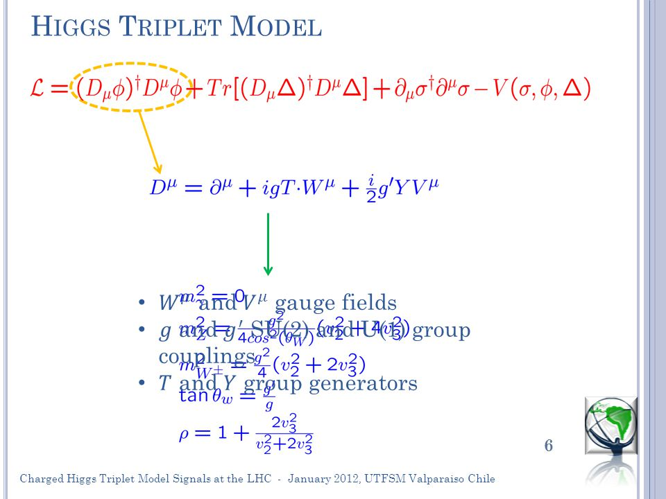 H IGGS T RIPLET M ODEL 6 Charged Higgs Triplet Model Signals at the LHC - January 2012, UTFSM Valparaiso Chile